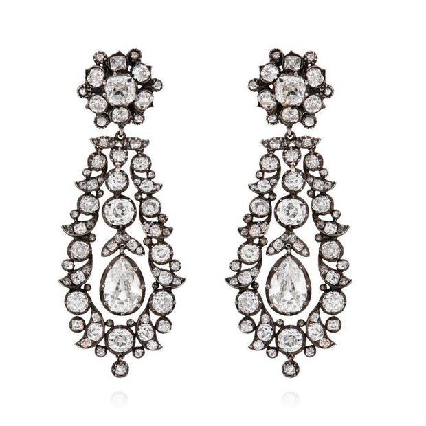 ANTIQUE DIAMOND, SILVER, & GOLD EARRINGS