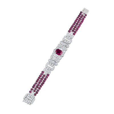 Ruby & Diamond Platinum Bracelet