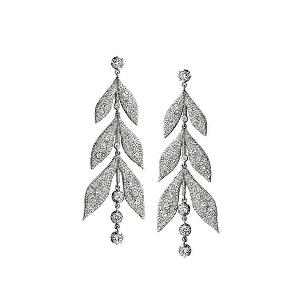 Neil Lane Couture Diamond, Platinum Pendant Style Leaf Earrings
