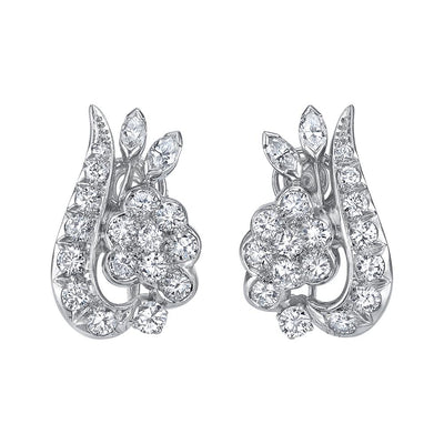 MID-CENTURY DIAMOND, PLATINUM FLORAL EARRINGS