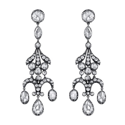 ANTIQUE ROSE-CUT DIAMOND, SILVER, GOLD EARRINGS