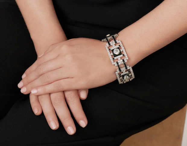 ART DECO DIAMOND, ONYX & PLATINUM BRACELET