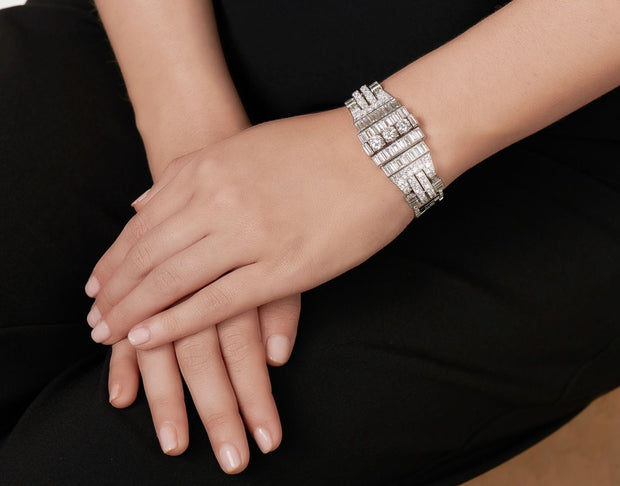 BOUCHERON ART DECO DIAMOND AND PLATINUM BRACELET