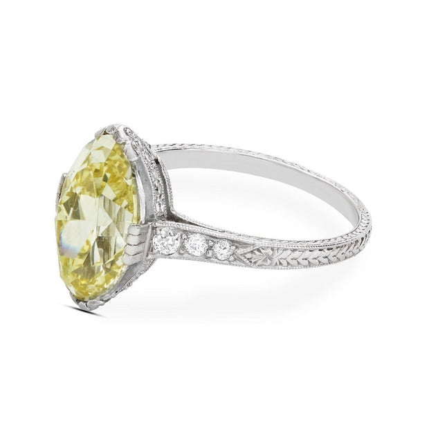 EDWARDIAN FANCY INTENSE YELLOW DIAMOND, PLATINUM RING