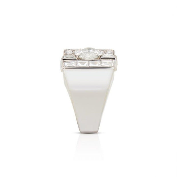 GEOMETRIC ART DECO DIAMOND, PLATINUM RING
