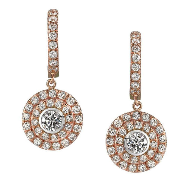 Neil Lane Couture Diamond, 18K Rose-Gold Double Halo Earrings