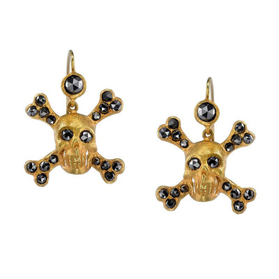 NEIL LANE COLORED DIAMOND, 14K YELLOW GOLD SKULL EARRINGS