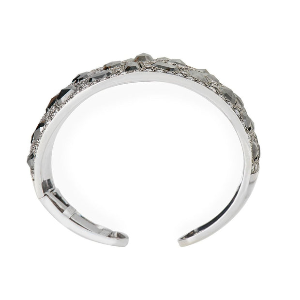 FACETED DIAMOND, PLATINUM CUFF BRACELET
