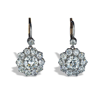 VINTAGE DIAMOND, PLATINUM CLUSTER EARRINGS