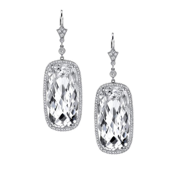 NEIL LANE WHITE TOPAZ, DIAMOND, PLATINUM EARRINGS