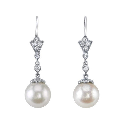 NEIL LANE CULTURED PEARL, DIAMOND, PLATINUM EARRINGS
