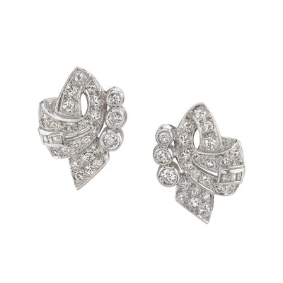 Pair of Mid-Century Diamond & Platinum Earrings