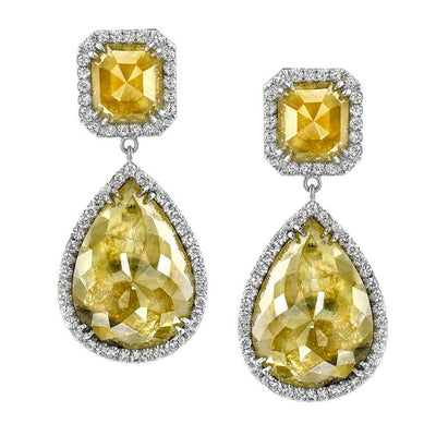 NEIL LANE FANCY COLOR DIAMOND, PLATINUM EARRINGS