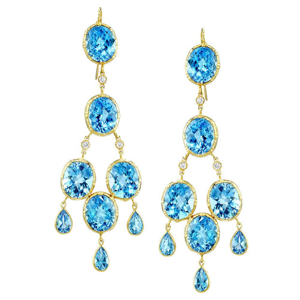 Pair of Blue Topaz, Diamond, 14k Yellow Gold Earrings