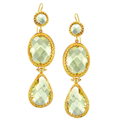 NEIL LANE LEMON QUARTZ, 14K YELLOW GOLD DROP STYLE EARRINGS
