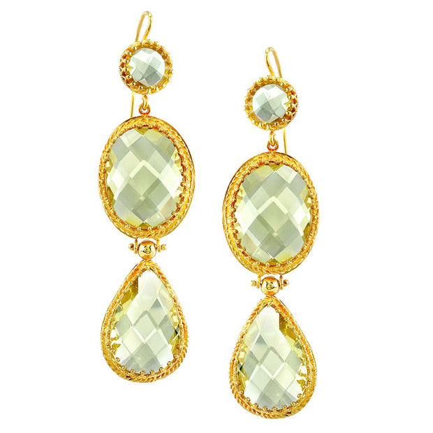 Neil Lane Couture Lemon Quartz, 14K Yellow Gold Drop Style Earrings