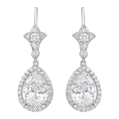 PAIR OF NEIL LANE DESIGN PEAR-SHAPED DIAMOND, PLATINUM EARRINGS