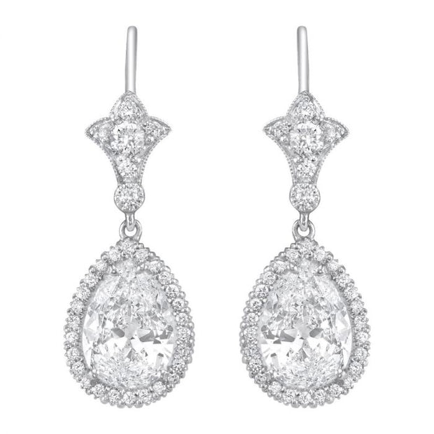 NEIL LANE DESIGN PEAR-SHAPED DIAMOND, PLATINUM EARRINGS