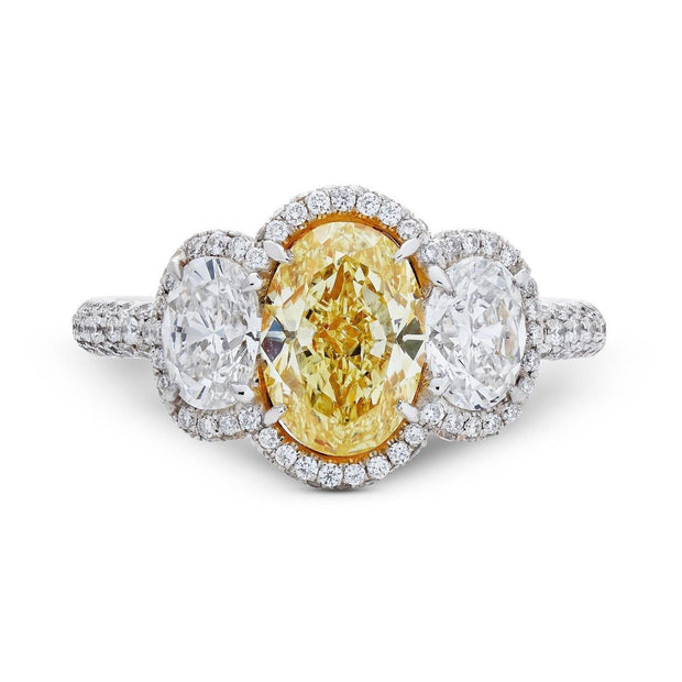 YELLOW & WHITE DIAMOND THREE STONE PLATINUM RING