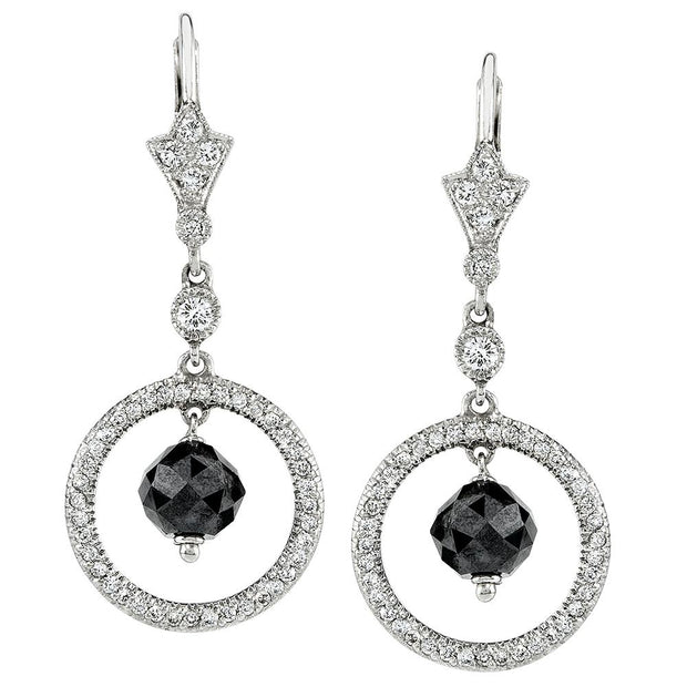 Neil Lane Couture Black & White Diamond, Platinum Earrings