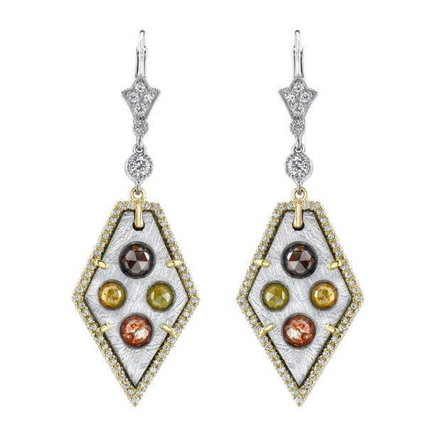 Pair of Colored Diamond, Meteorite, Platinum, 18k Yellow Gold Earrings