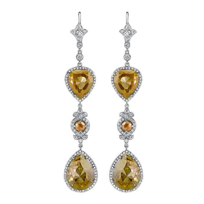 NEIL LANE FANCY COLORED & WHITE DIAMOND, PLATINUM EARRINGS
