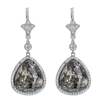NEIL LANE GREYISH-BLACK DIAMOND, PLATINUM EARRINGS