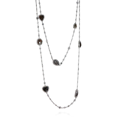 GREY AND WHITE DIAMOND, PLATINUM NECKLACE