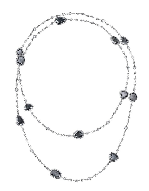 Neil Lane Couture Grey And White Diamond, Platinum Necklace
