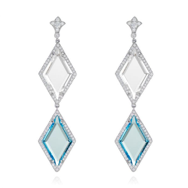 BLUE, AND WHITE TOPAZ, PLATINUM EARRINGS