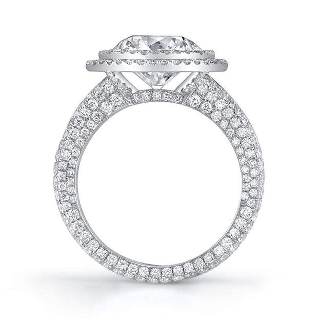 NEIL LANE DOUBLE HALO ROUND DIAMOND, PLATINUM RING
