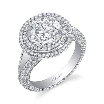 NEIL LANE COUTURE DESIGN DOUBLE HALO ROUND-CUT DIAMOND, PLATINUM RING