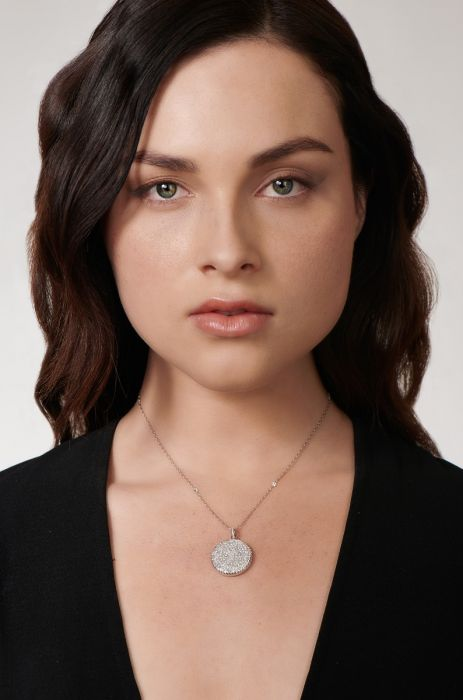 ROUND-CUT DIAMOND, PLATINUM LOCKET, PENDANT NECKLACE