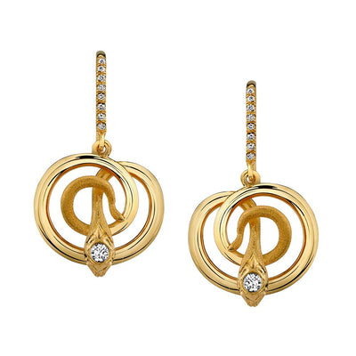 NEIL LANE DIAMOND, 18K YELLOW GOLD SNAKE EARRINGS