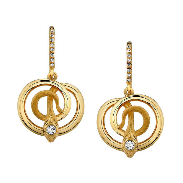 Pair of Diamond, 18k Yellow Gold Snake Earrings