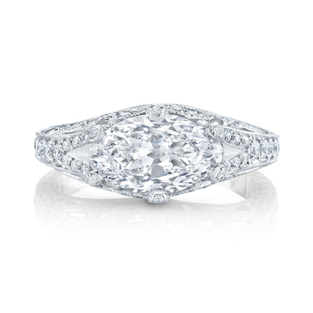 NEIL LANE MODIFIED MARQUISE BRILLIANT-CUT DIAMOND, PLATINUM RING