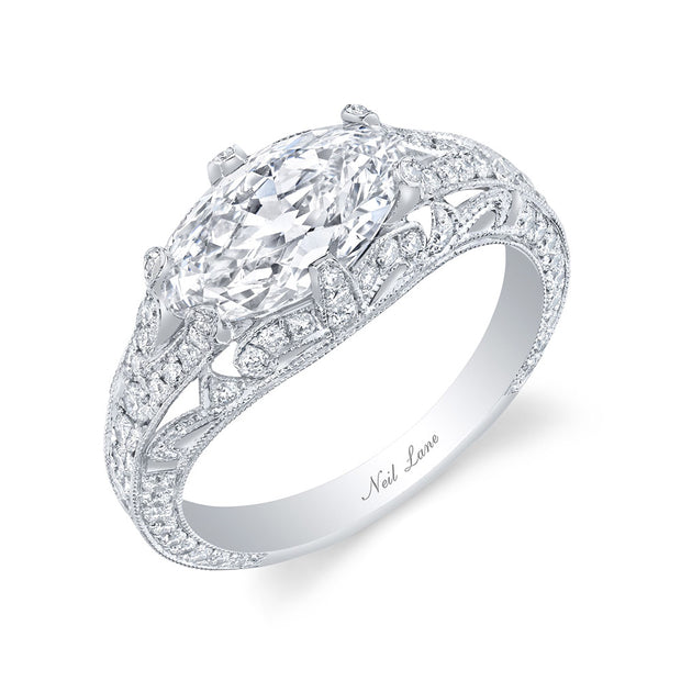 Neil Lane Couture Design Modified Marquise Brilliant-Cut Diamond, Platinum Ring
