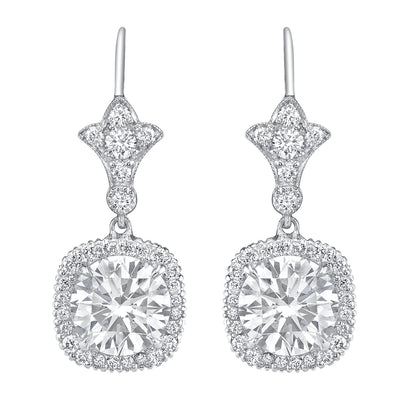 NEIL LANE ROUND BRILLIANT-CUT DIAMOND, PLATINUM EARRINGS