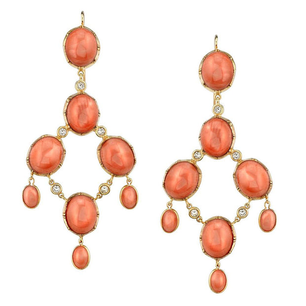 Cabochon Coral Earrings