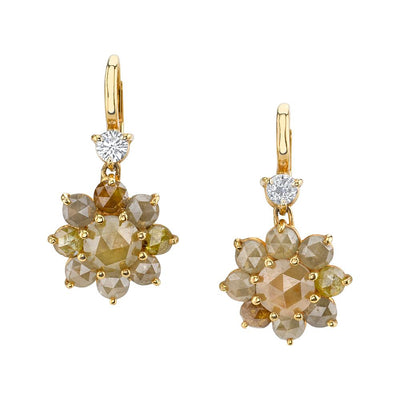 NEIL LANE COLORED DIAMOND, 18K YELLOW GOLD CLUSTER EARRINGS