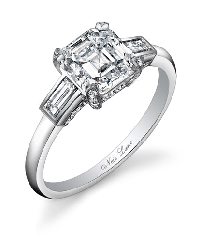 NEIL LANE SQUARE EMERALD-CUT DIAMOND, PLATINUM RING