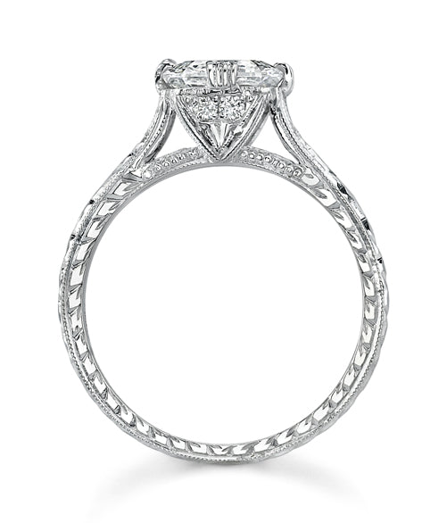 NEIL LANE SQUARE STEP-CUT DIAMOND, PLATINUM RING