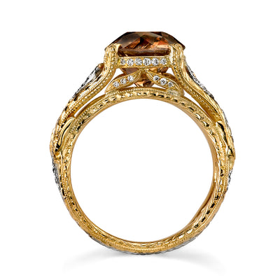 Neil Lane Couture Design Renaissance Revival Style Natural Fancy Color Diamond, Platinum, 18K Yellow Gold Ring