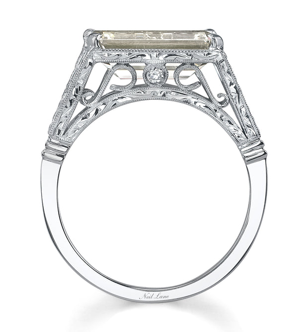 Neil Lane Couture Design Emerald-Cut Diamond, Platinum Ring