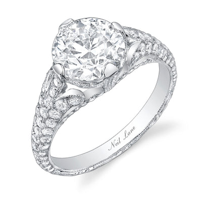 NEIL LANE COUTURE DESIGN OLD EUROPEAN CUT DIAMOND, PLATINUM RING