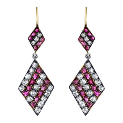 ANTIQUE RUBY, DIAMOND, SILVER, YELLOW GOLD EARRINGS