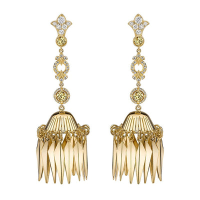 NEIL LANE DIAMOND, 18K YELLOW GOLD EARRINGS