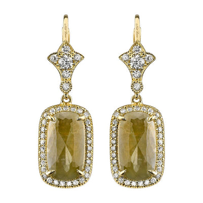 NEIL LANE COLOR & WHITE DIAMOND, 18K YELLOW GOLD EARRINGS