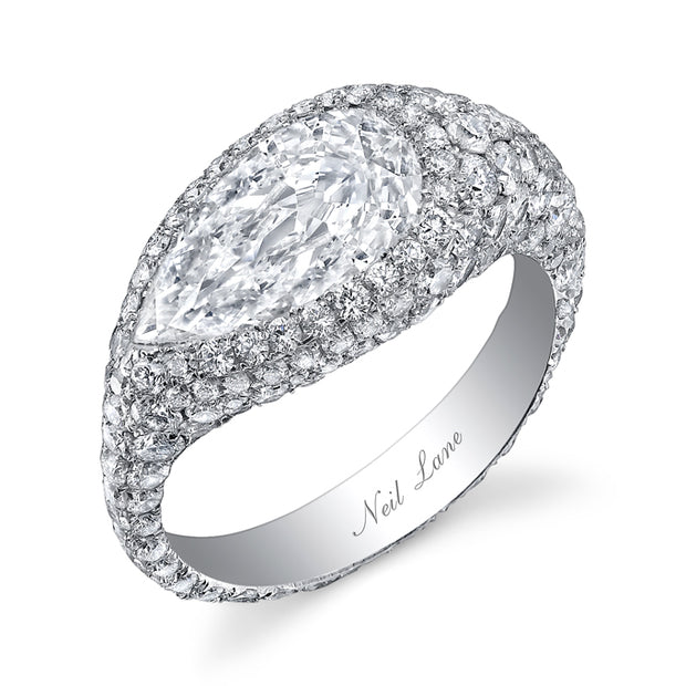 NEIL LANE PEAR-SHAPED DIAMOND, PLATINUM RING