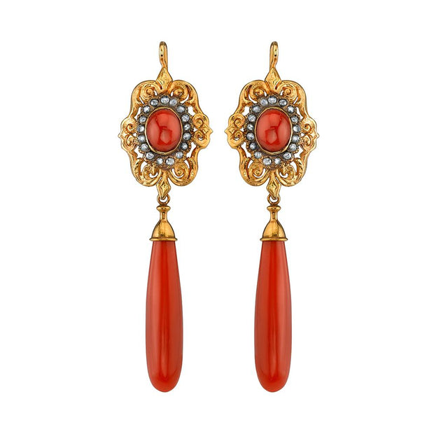 Sardinian Coral Drop Earrings